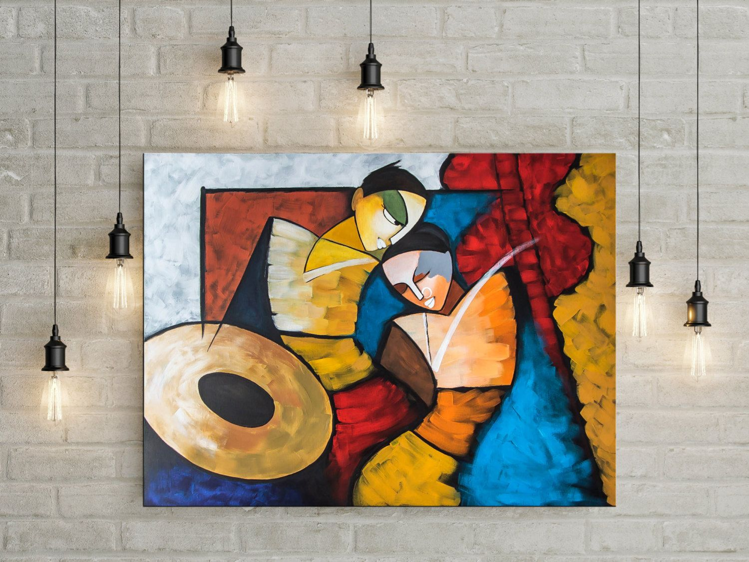 Indian Contemporary Art, Modern Painting, Radha Krishna, Couple ... for Abstract Painting Of Indian Dancers  113cpg