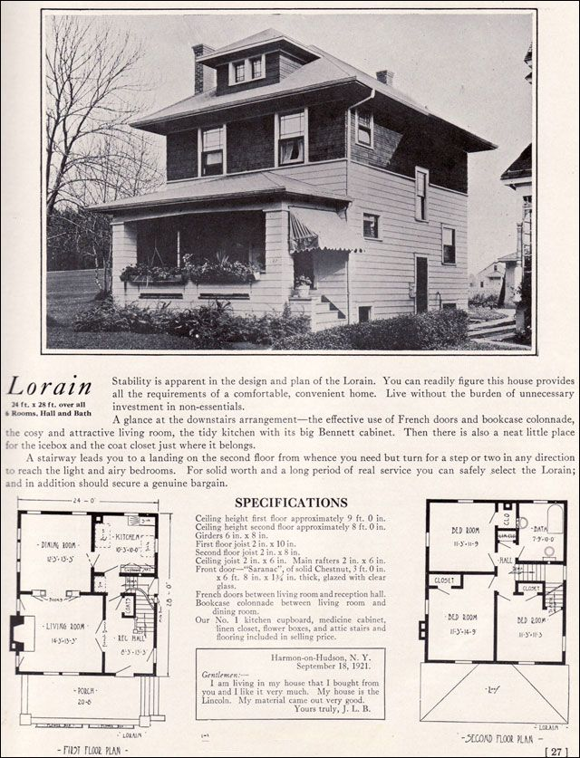 Four Squar House Design Of 1900s: 1922 Lorain By Bennett Homes
