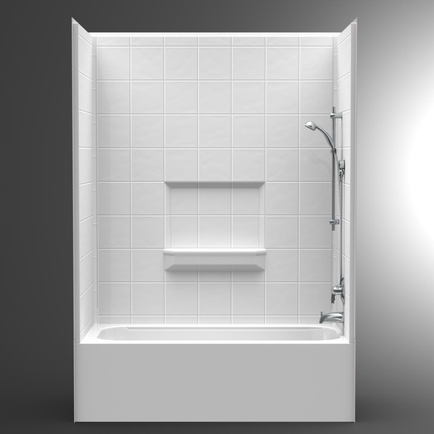 Multi Piece 60 X 30 X 85 Tub Shower Combo 17 Curb Skirt Height 4lets6030 V2 Bestbath Tub Shower Combo Bathroom Tub Shower Combo Tub Shower Combo Remodel