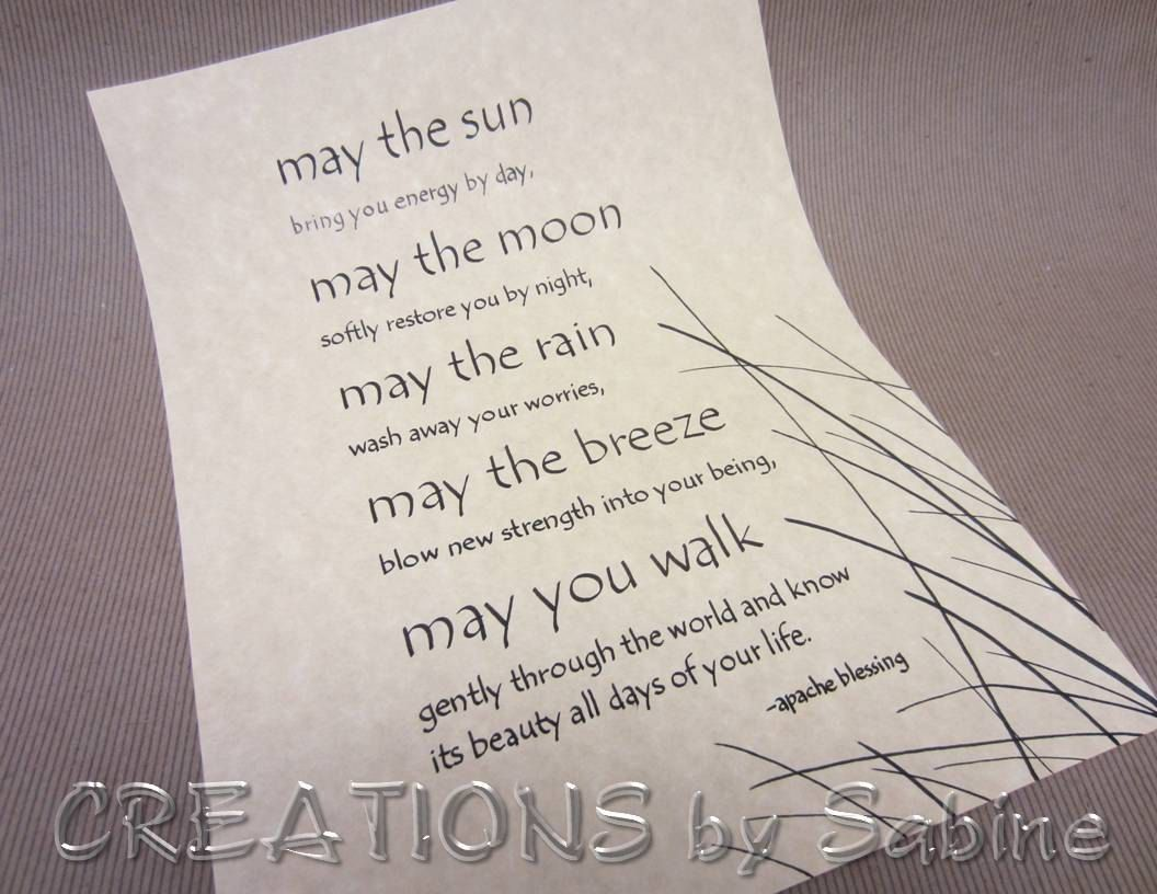 Calligraphy Apache Blessing Handwritten Original Art Ready