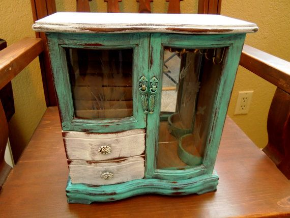Wood Jewelry Box Distressed Turquoise Hand Painted by sodistressed