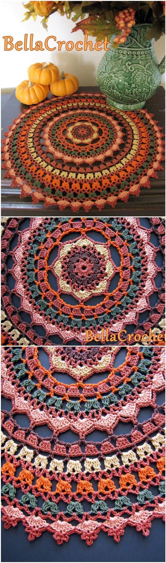 Crochet Autumn Spice Mandala Doily - 60+ Free Crochet Mandala Patterns