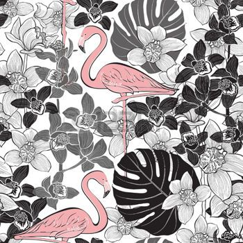 53166559-seamless-pattern-with-pink-flamingo-on-the-background-of-tropical-plants-hand-drawn-vector-illustrat.jpg (350×350)