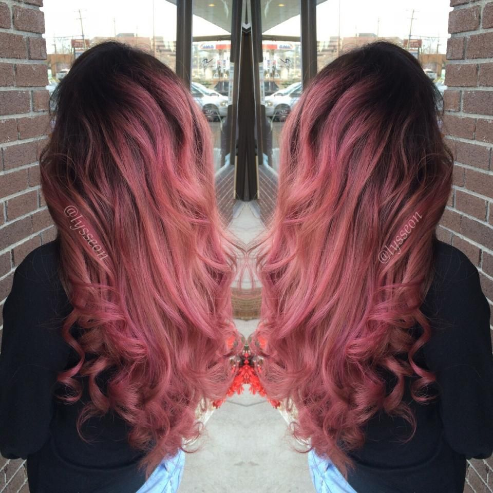 Rose Gold With Black Roots This Is Exactly How I Want My Hair I M Growing It Out First Hair Styles Hair Dye Balayage Ombre Hair Color