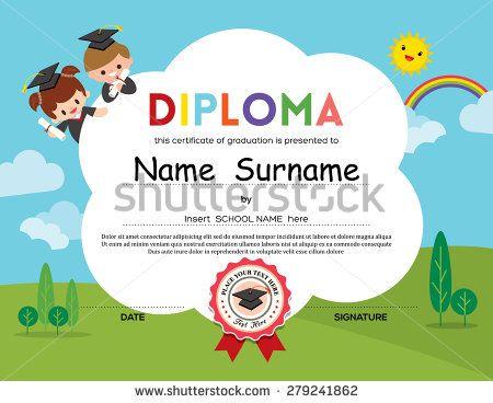 Preschool Elementary school Kids Diploma certificate background - sample certificates for kids