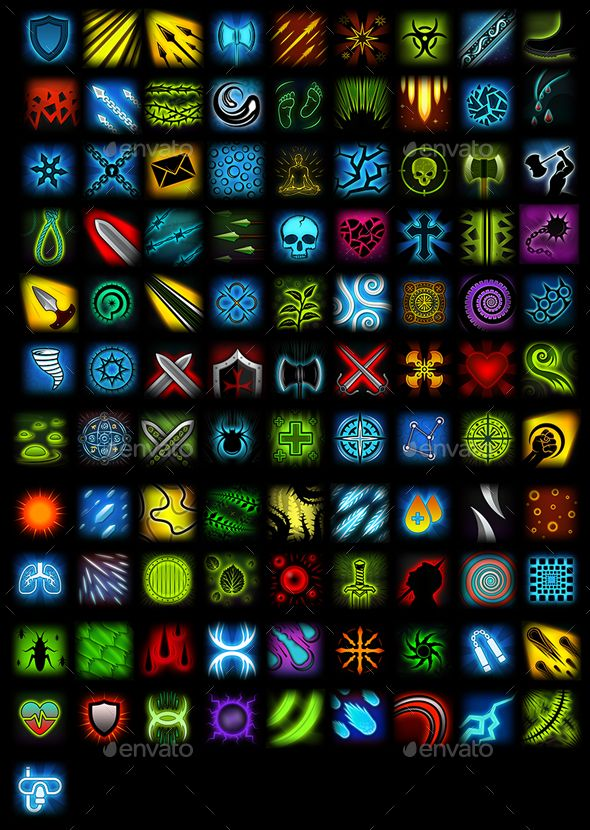 Set Of 100 Skill Icons Pixel Art Games Graphic Design Pattern Icon