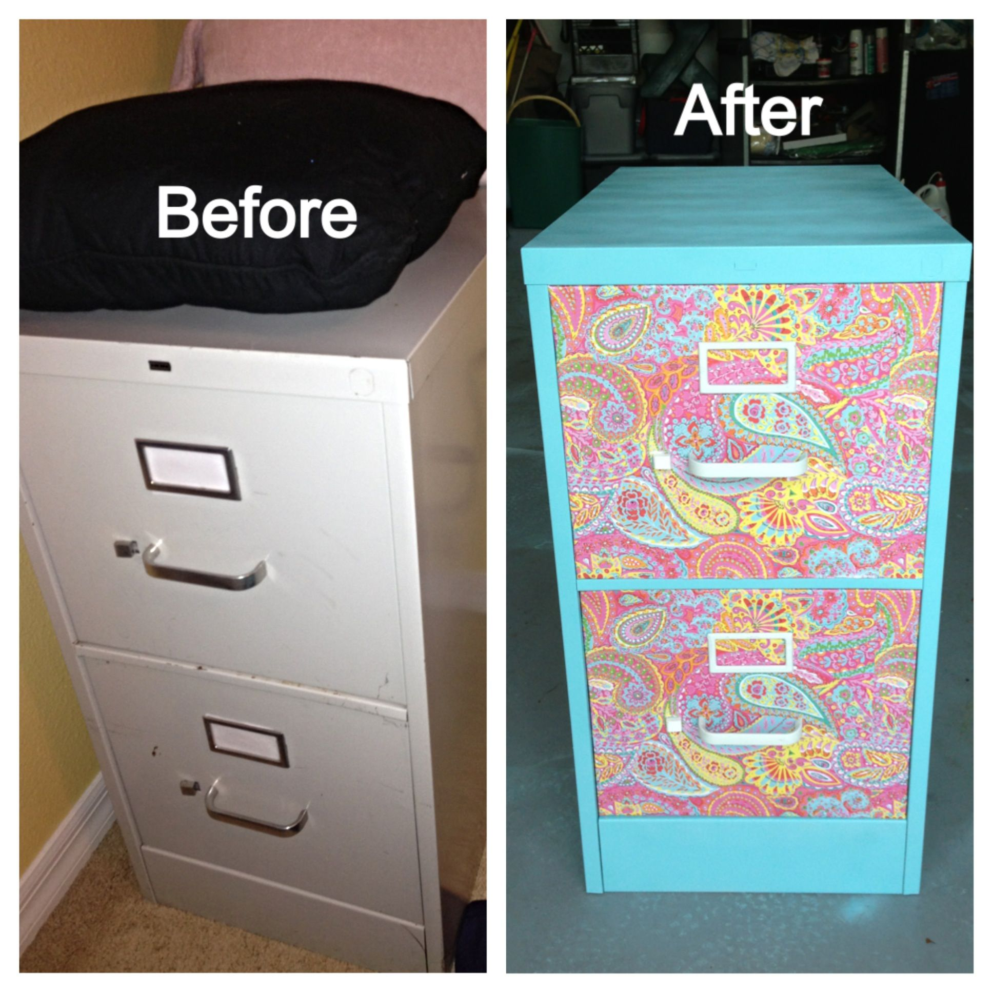 DIY Filing Cabinet. Using Primer, Spray Paint, Card Stock For The Design,