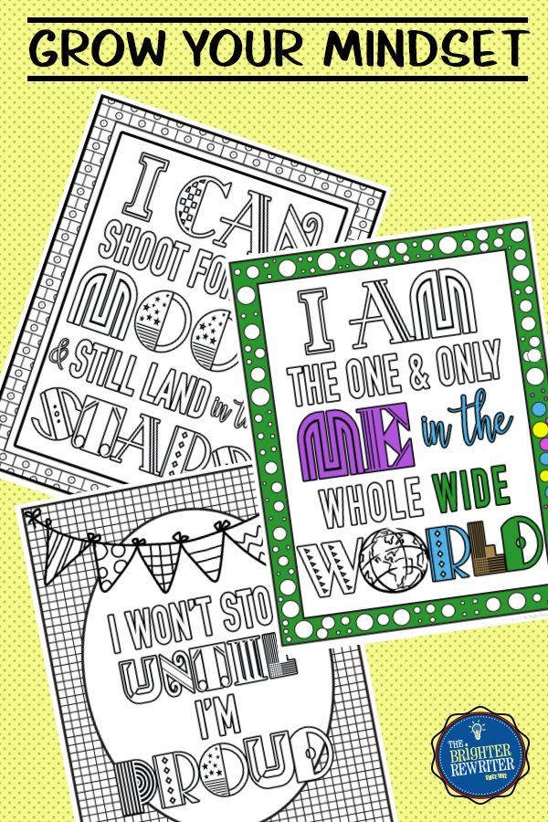 These 12 Growth Mindset Coloring Pages For Upper Elementary Students Will Encourage Positive Self Talk Growth Mindset Mindset Counseling Kids