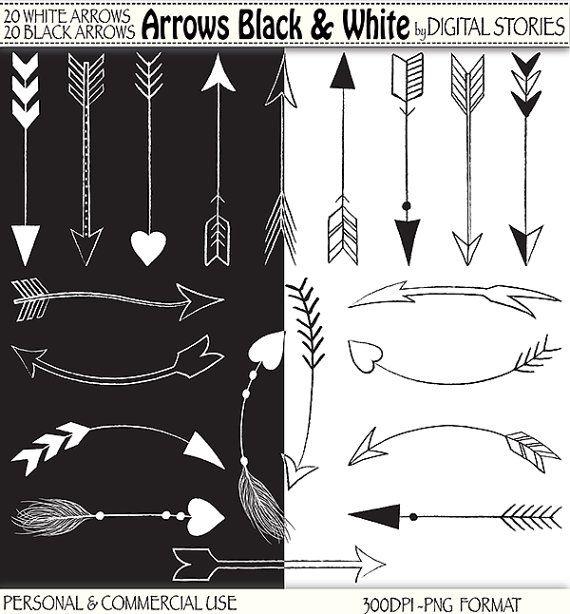 "Edit A Line Or Arrow Line Arrow Wordart Picture Clip: 40 Arrows Clipart: ""ARROWS BLACK & WHITE"" Hand Drawn"