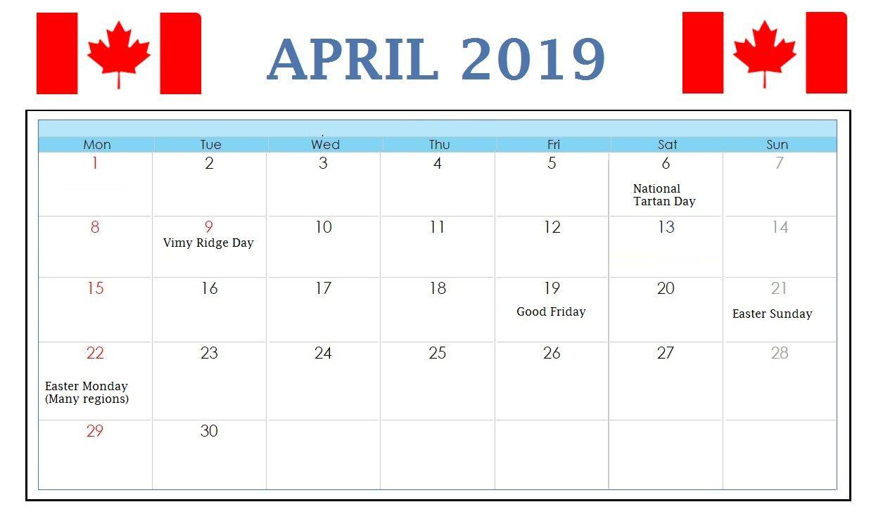 April 2019 Calendar Canada With Bank Public Federal Holidays