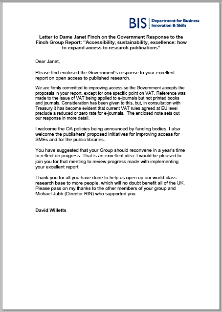 Letter To Dame Janet Finch On The Government Response To The Finch