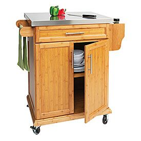 Small Bamboo Stainless Steel Top Kitchen Cart At Big Lots With