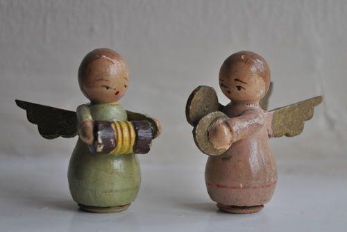 Vintage German Wooden Angel Musicians