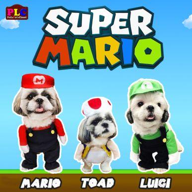 Super Mario Bros Dog Costume Mario Toad Luigi Available In