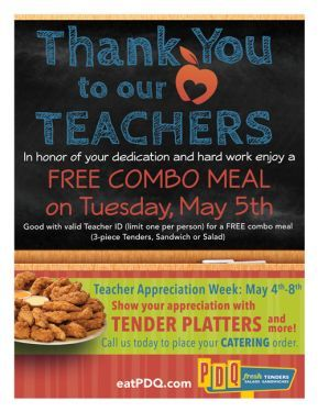 Teachers eat free at PDQ for Teacher Appreciation Day on