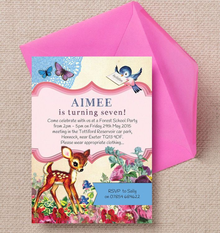 Vintage Deer Children\'s Party Invitation   Party invitations and ...