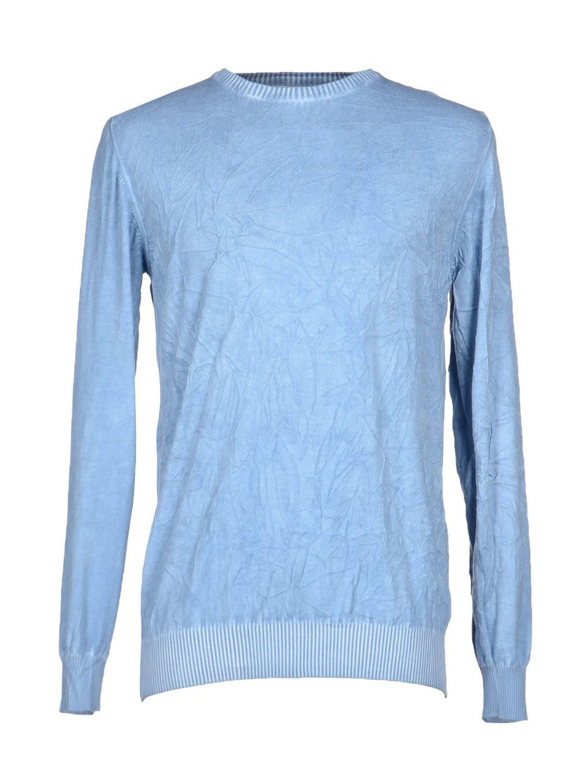 Private Lives Men Cold Pigment Dyed Blue Cotton Sweater Wrinkled ...