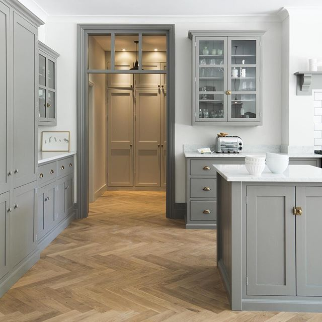 Soft Grey And White With A Lovely Transom Window In The Doorway - Soft grey kitchen