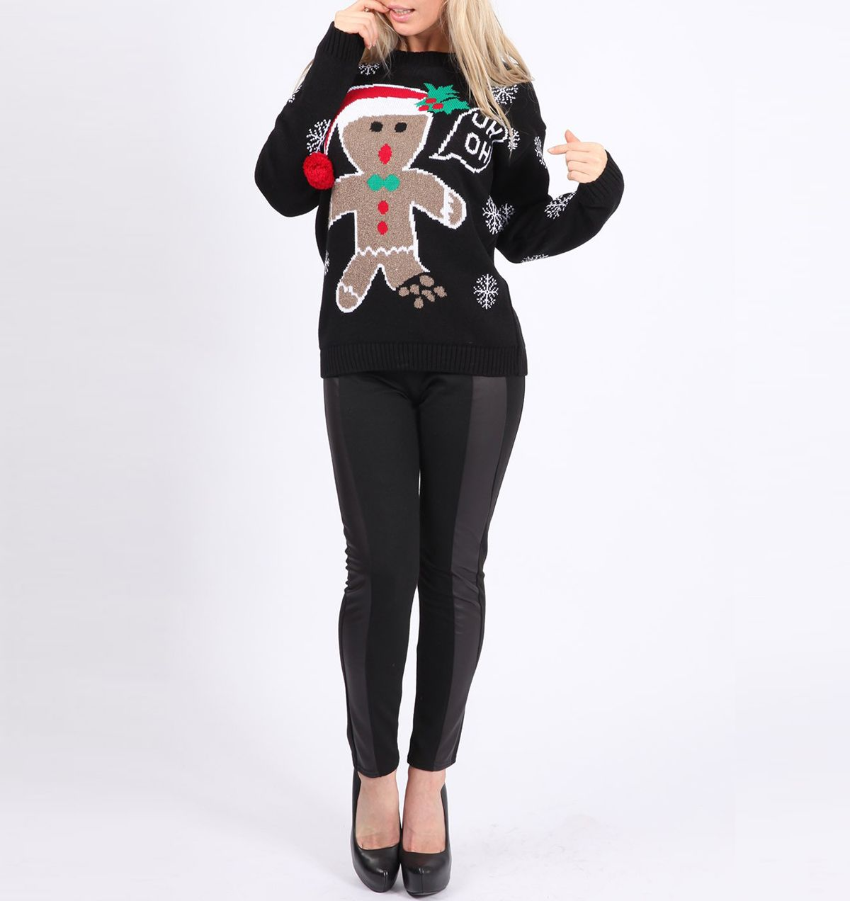 Gingerbread Man Ugly Christmas Sweater Black $25.00 SHop: http://www ...