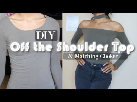 879cc21a0a1 DIY TRANSFORMATION | off the shoulder top & matching choker - YouTube