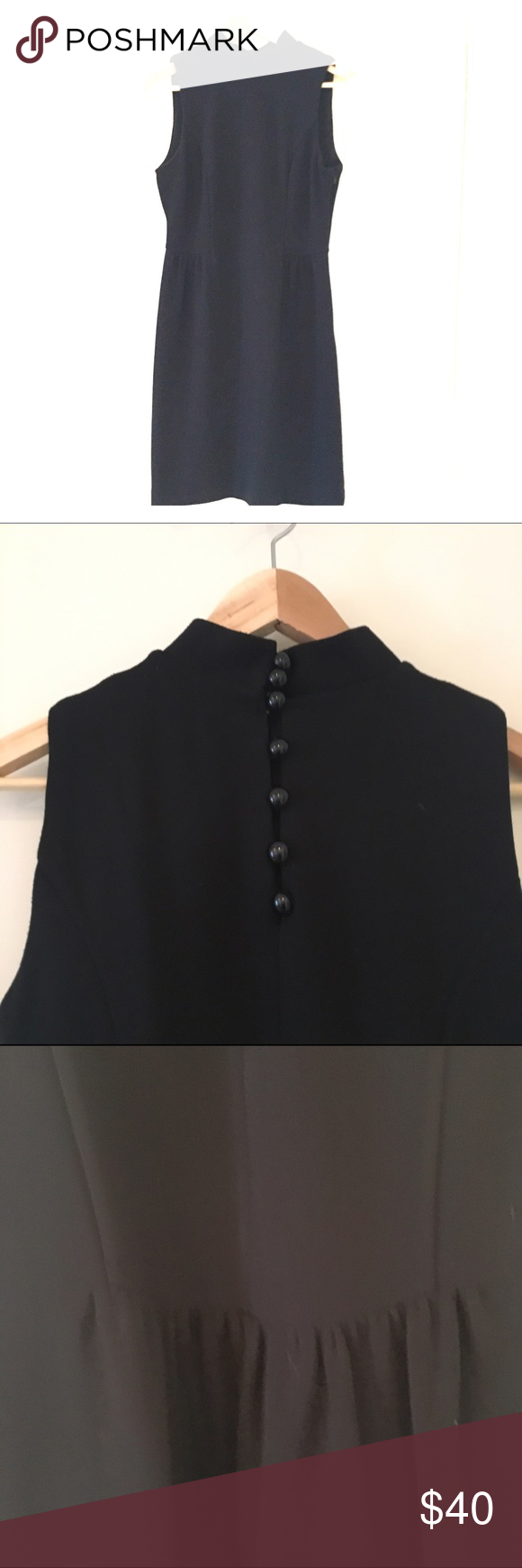 Banana Republic Black Dress A Line with a mock collar - Amazing buttons on the back of the neck. Fits as a 6 Banana Republic Dresses