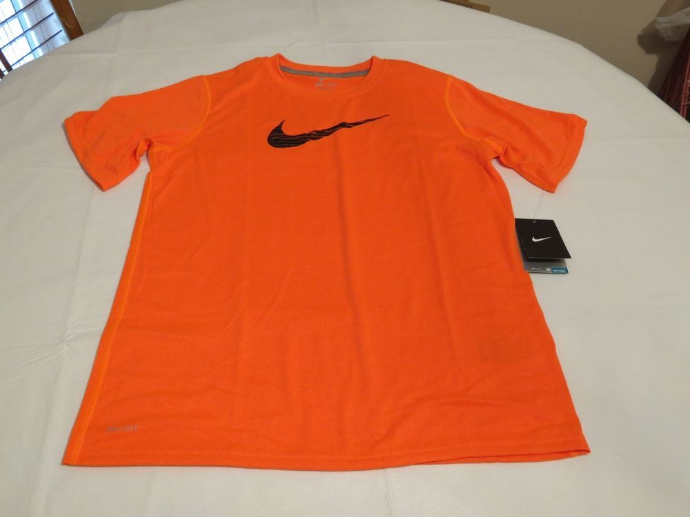 f006271b Nike Boy's youth kids NEON orange 853 active Logo T shirt DRI FIT XL  performance #Nike