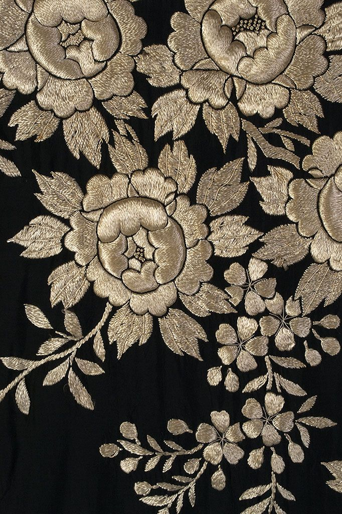 Detail of embroidery on black silk kimono, Japanese, ca