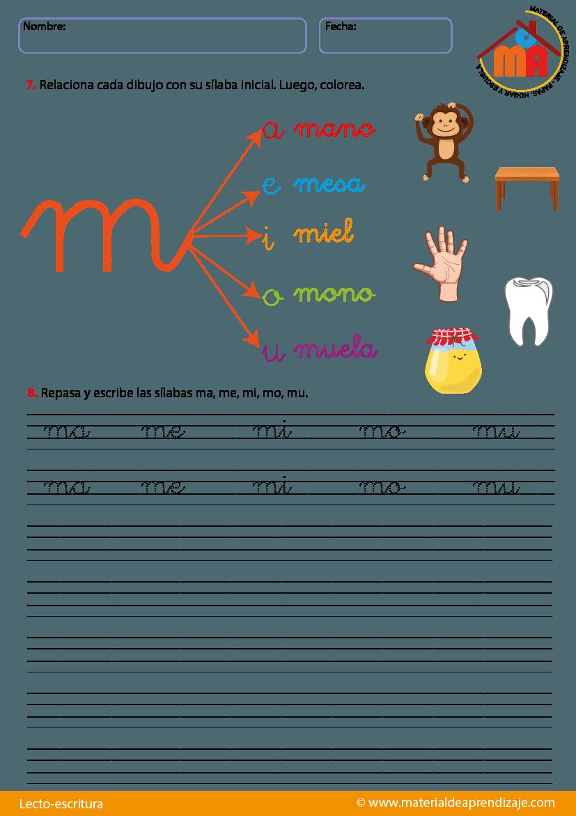 Resultado de imagen para hojas de trabajo letra m cursiva | Lenguaje ...