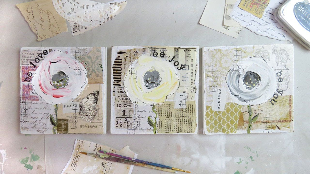 a trio of flowers - mixed media artwork using vintage papers and acrylic paint.  Old shabby vintage style roses, with gorgeous old papers, sheet music and ephemera in the background.