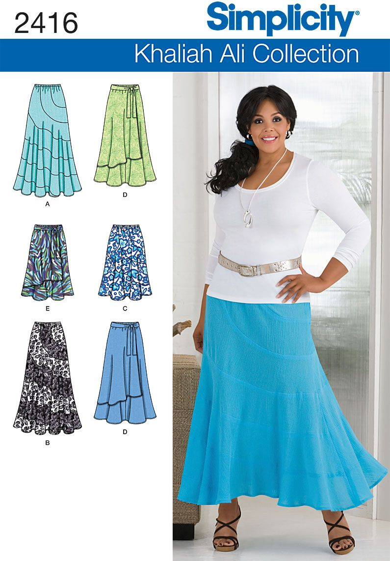 2416Misses' & Plus Size Skirts Misses' & Plus Size Khaliah Ali Collection skirts with length and style variation sewing pattern.