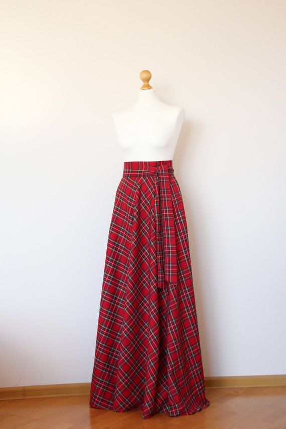 9f5257dc32 Red tartan maxi skirt Red plaid maxi skirt Red maxi skirt with pockets Red  long skirt Red long plai