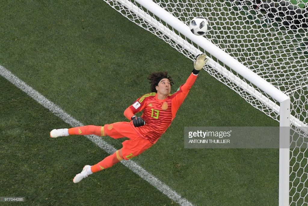 809fd7fc9 TOPSHOT - Mexico s goalkeeper Guillermo Ochoa in action during the Russia  2018 World Cup Group F football match between Germany and Mexico at the  Luzhniki ...