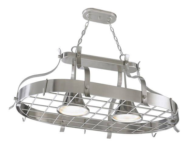 The Portfolio Island Pot Rack From Lowe S Features A Sy Grid And Cleverly Designed Built In Metal Light Fixtures 157
