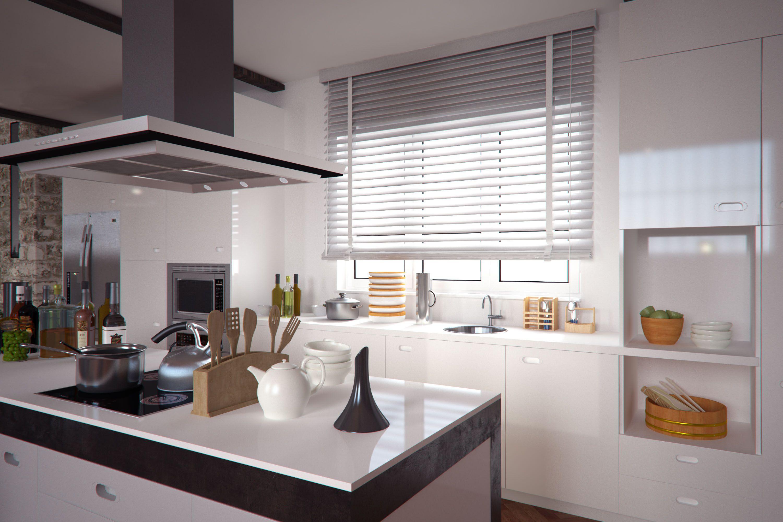 une cuisine design et chic avec un store en bois blanc laqu design chic cuisine decoration. Black Bedroom Furniture Sets. Home Design Ideas
