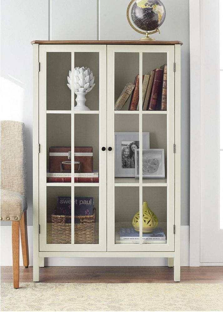 Room  Tall Display Cabinet Storage Furniture 2 Glass Doors Home Living ...