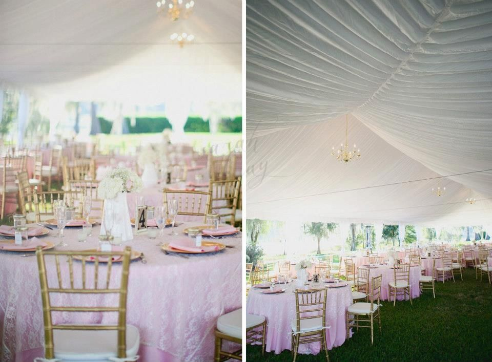 wedding reception under a tent with a liner in cypress grove in