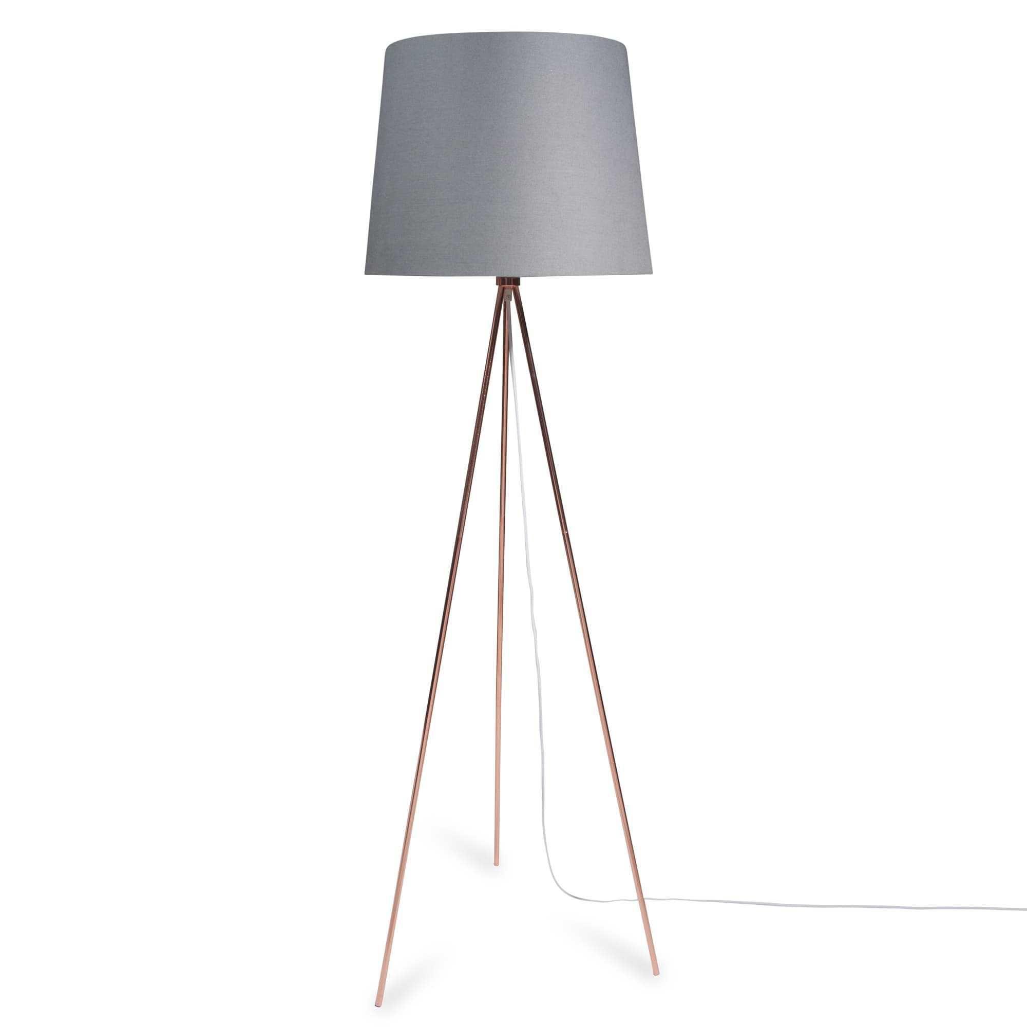 Dreibein Stehlampe Aus Metall Und Grauem Lampenschirm H148