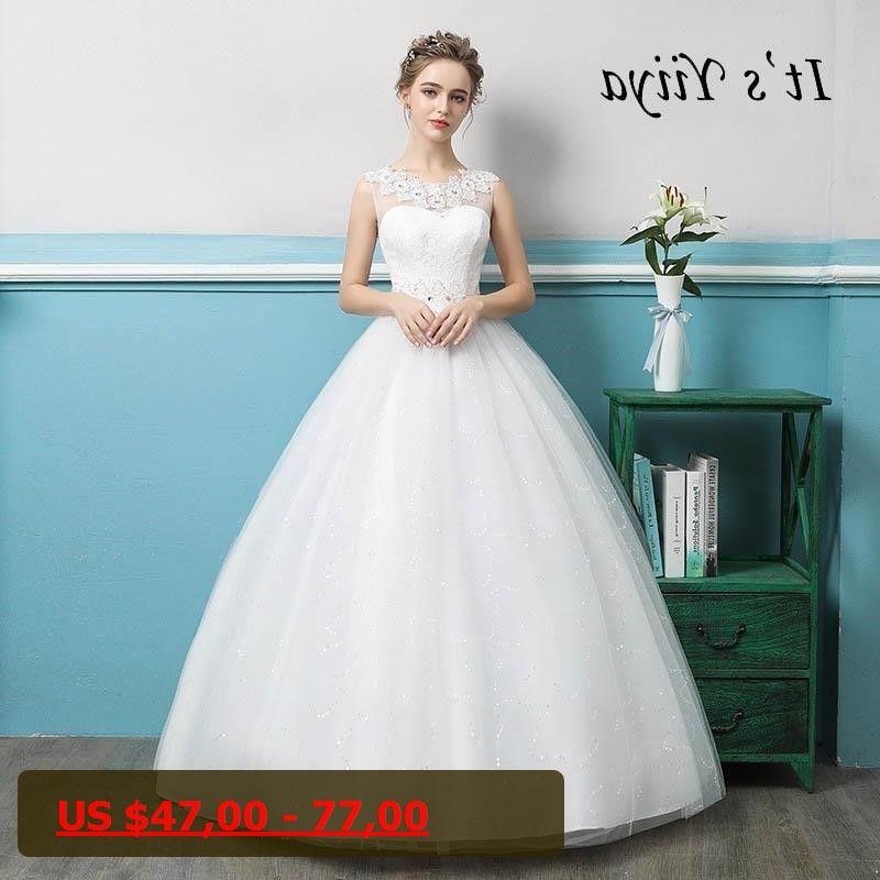 Its YiiYa O-neck Sleeveless Backless Illusion Flowers Wedding Dress ...