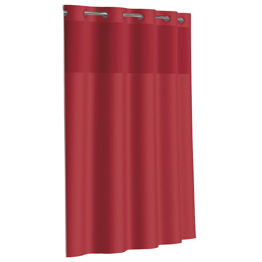 Dobby Pique Mystery Hookless Fabric Shower Curtain Red 71x74 In