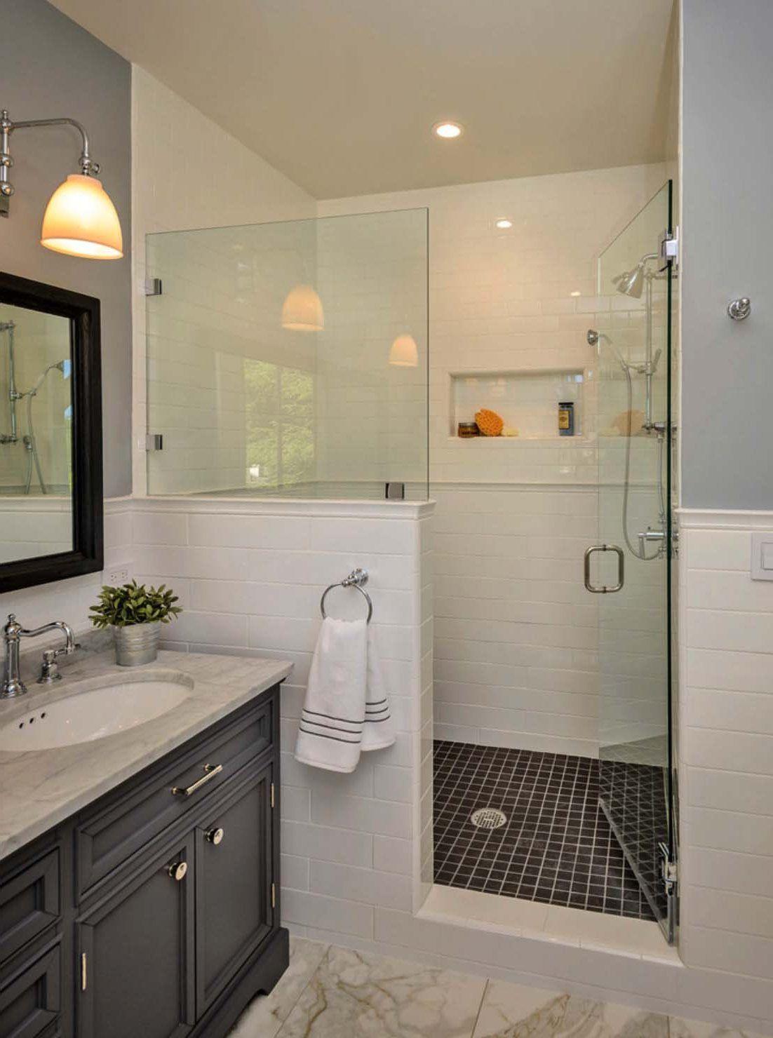 30 Extraordinary Traditional Style Bathroom Designs Ideas Pinzones Glass Shower Wall Half Wall Shower Bathroom Glass Wall Bathroom ideas half wall