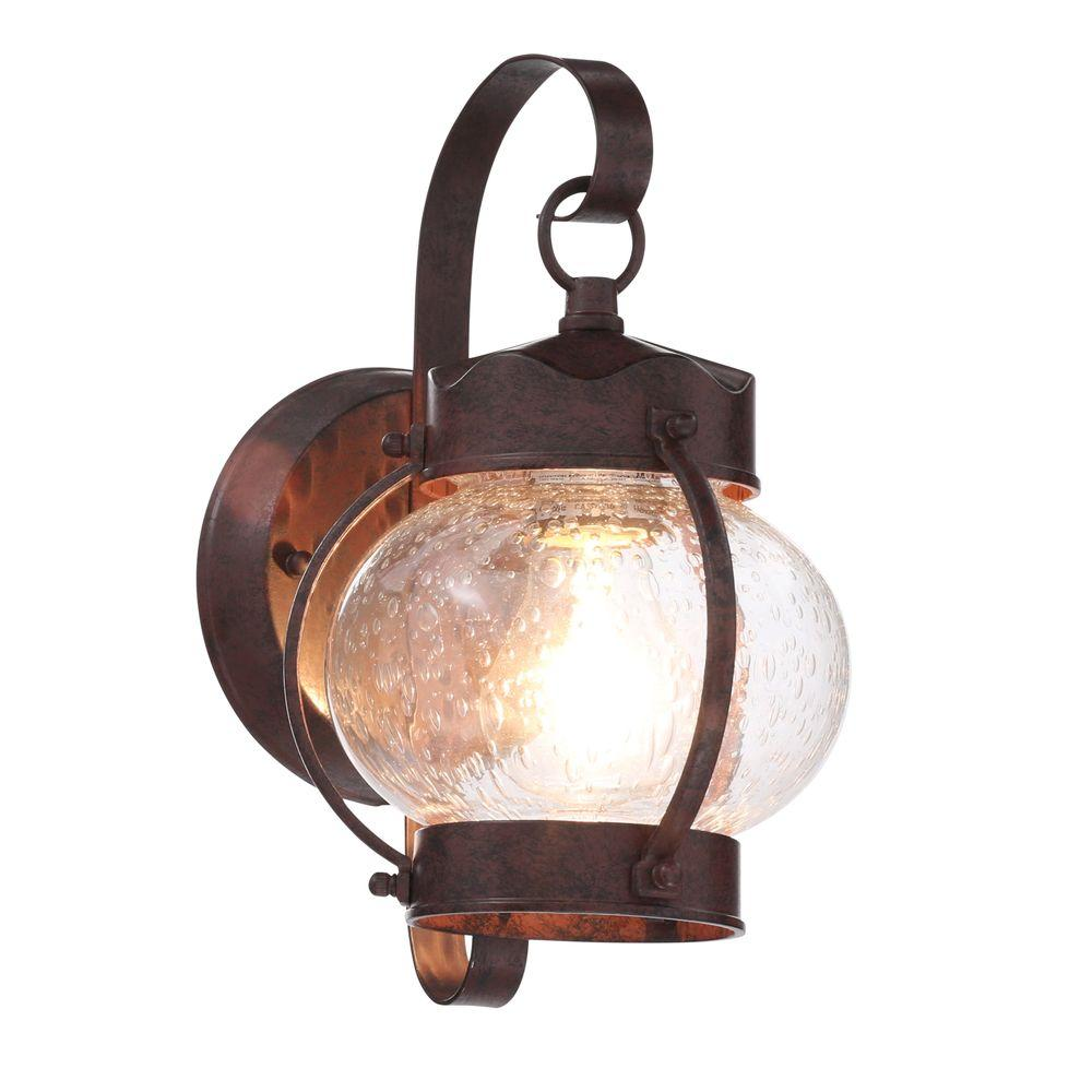 1 light old bronze outdoor onion wall lantern with clear seed glass