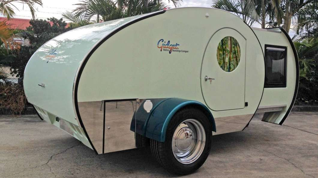 the australian made gidget retro teardrop camper packs more livable space by borrowing the idea. Black Bedroom Furniture Sets. Home Design Ideas