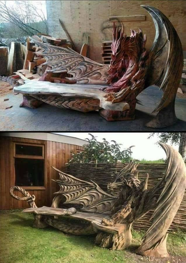 Dragon benches carved with a chainsaw by estonian artist