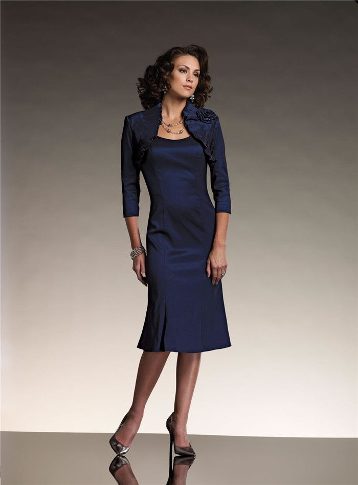 High Quality Scoop Neck Dark Blue Formal Evening Dress Knee Length