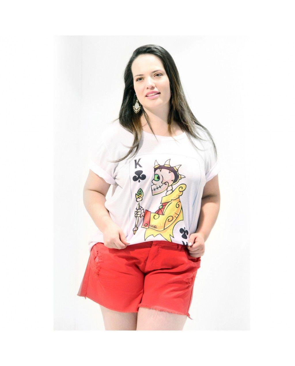 #Camiseta Rei de Paus  Da Morte Divertida  Camiseta manga curta feminina;  Com motivos divertidos;  Em malha mista, #PlusSize;  Tudo de bom, para um dia em que você está feliz com a vida!  Esta camiseta é muito confortável.  Marca VICKTTORIA VICK  Composição Têxtil:  95%Poliester  05% Elastano         #camisetaplussize #mortedivertida #camiseamangacurta #camisetagramde #feitonobrasil