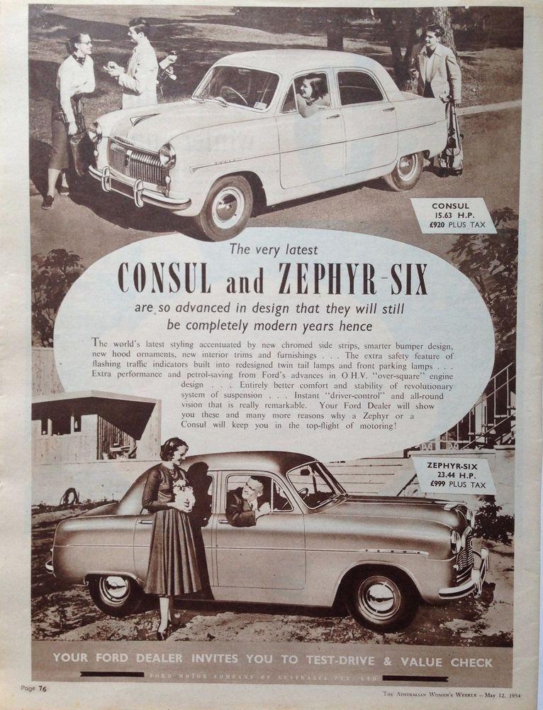 Ford Zephyr Six Car Ad 1954 Original Vintage Australian