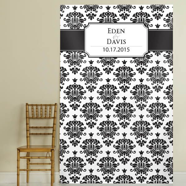 Damask Pattern Backround Photo Backdrop Personalized With The Bride And Groom S Name Wedding Date Is Ready For Display At Your Its Clean