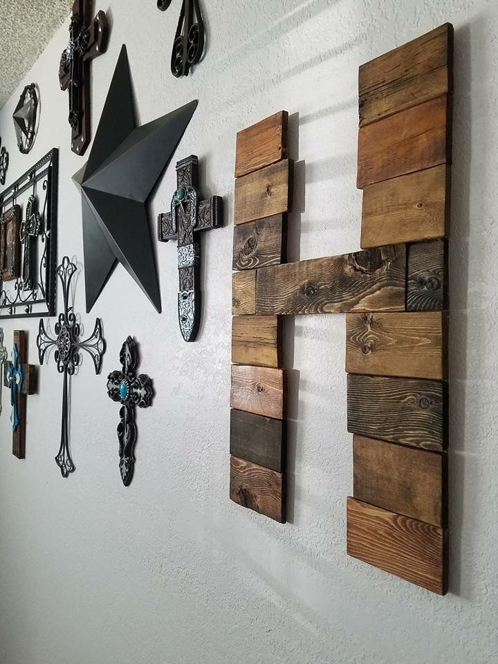 letter H out of pallet wood Stained DIY Cross wall