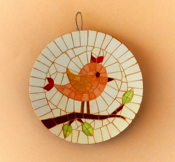 Best Round Mosaic Wall Hanging With Bird Figure By Mosaicloud 400 x 300