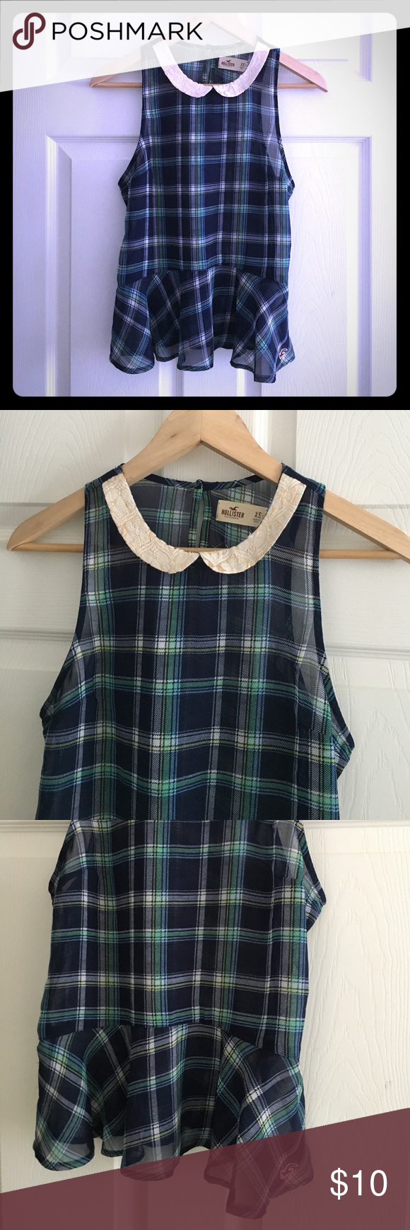 Hollister Sheer Sleeveless Top Size XS Up for sale is Hollister Sheer Sleeveless Top as shown on the photos. Lightweight. Color: Green/Navy. Size XS. Pre-owned. Perfect condition. No tears, holes or stains. Hollister Tops
